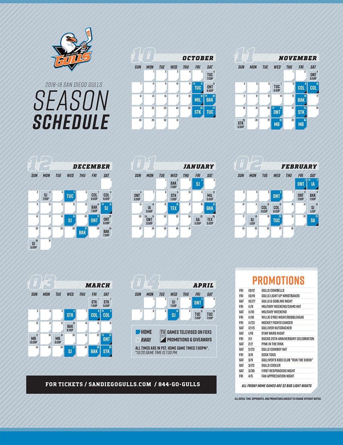 Printable Schedule San Diego Gulls