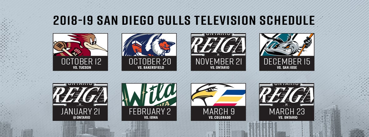 GULLS 2018-19 TV SCHEDULE